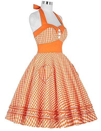 GRACE KARIN® Damen 50s Vintage Rockabilly Kleid Neckholder Kleid Partykleider CL6091-3