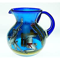 Mexican Glass Margarita or Ice Tea Pitcher, Hand Painted With