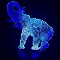3D Forma de Elefante Luz Nocturna Increíble Ilusión LED Lámpara de Mesa Animal 7 colores Cambio