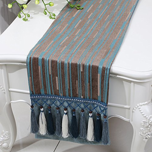 BSNOWF-Chemin de table Table Table Chenille Stripe Bed Table Basse Style Européen Classique Simple Table Moderne Tapis ( Couleur : Flat angle. , taille : 33*150cm )