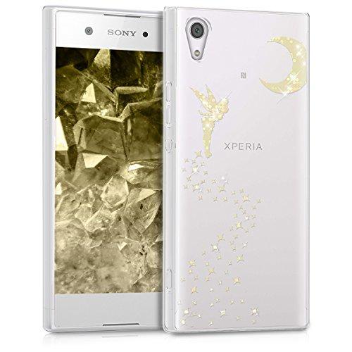 kwmobile Funda para Sony Xperia XA1 - Case para móvil en TPU silicona - Cover trasero Diseño Hada Brillo en oro transparente