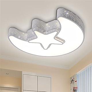 Matcose Modernen Europäischen Mittelmeer kreative Kinderzimmer Schlafzimmer Lampen LED-Decke für Jungen und Mädchen Cartoon/dimmbaren LED mit Fernbedienung Stern Mond Deckenleuchte,Aen weißen Rand 460MM