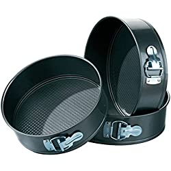 Zz Zonex Round Aluminium Non-Stick Springform Cake Pan Set Of 3 Pieces, Color: Black, Can Be Used In Microwave Ovens