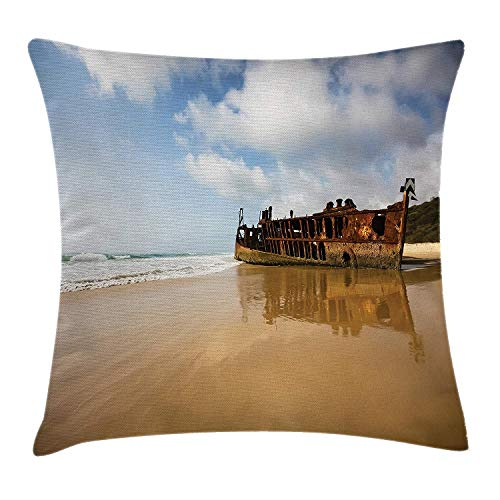Ocean Decor Throw Pillow Cushion Cover, Antique Rusty Pirate Ship Wreck on The Coast in Caribbean Island Pacific Sea View, Decorative Square Accent Pillow Case, 18 X 18 inches, ()