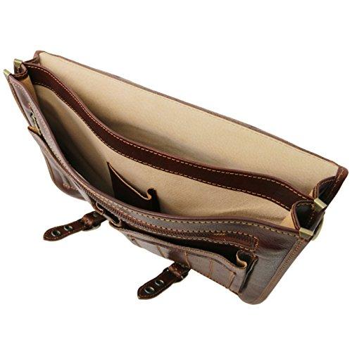 Tuscany Leather Capri - Messenger Tasche aus Leder 2 Fächer Dunkelbraun Lederaktentaschen Dunkelbraun