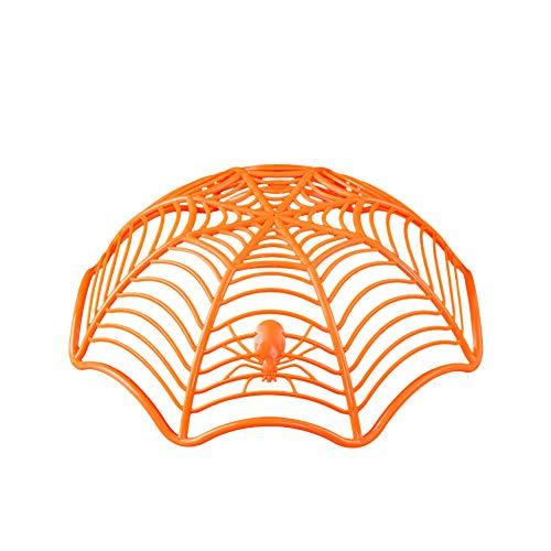 NaiCasy Spinnen-Netz-Frucht-Platte Halloween Dekoration kreative Süßigkeit Keks Obst Süßigkeiten Korb Schüssel für Halloween-Party-Dekor (orange)