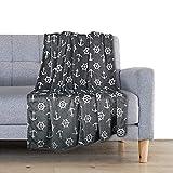 Delindo Lifestyle® Kuscheldecke Nautic ANTHRAZIT, Microfaser Fleece-Decke in 150x200 cm, flauschig weiche Maritime Wohndecke für Erwachsene und Kinder