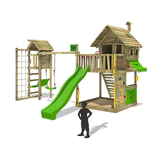 *FATMOOSE Spiel-Abenteuer GroovyGarden Combo XXL mit Turmanbau inkl. Holzdach Spielturm Kletterturm Spielhaus mit Veranda Kletternetz Hängematte Rutsche Schaukel und großem Sandkasten*