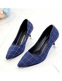 Xue Qiqi A la luz de la punta de los zapatos de tacón alto chica fina con pajarita, wild solo zapatos,35, azul