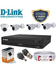 D-Link 4 Channel CCTV 2MP Kit 1 Dome & 3 Bullet with All Ac