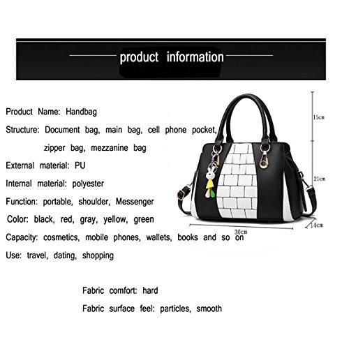 WU ZHI Dame Hit Color Stitching Handtasche PU Weichen Leder Handtaschen Umhängetasche Messenger Bag Grey