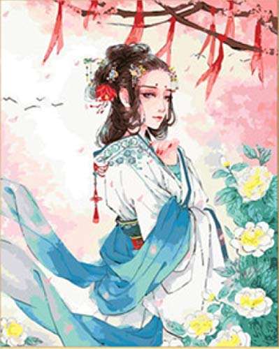 Alte Shanghai Kostüm Das - srtyu Alten Stil Mädchen Digitale Malerei DIY handgemalte Ölgemälde Alten Kostüm Hanfu handgemalte Farbmalerei Mädchen Schlafzimmer dekorative Malerei