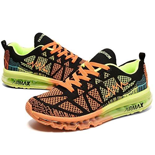 YIRUIYA Herren Air Laufschuhe Leichtgewichte Sneaker mit Luftpolster Sportschuhe Schwarz+Orange