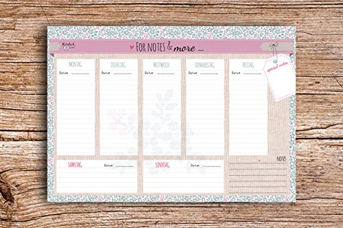For Notes & More - Block A5 Wochenkalender Planer