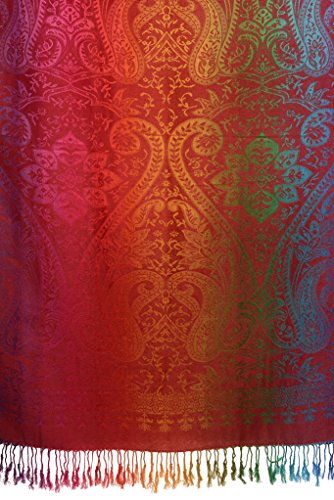 Mirrored Ombre Paisleys On Burgundy Pashmina Feel With Tassels - Rot Scarf, Schal Einheitsgroesse (70cm x 180cm)