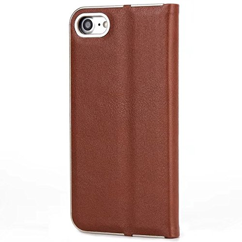 EKINHUI Case Cover Luxus Slim Magnetic Closure Pattern Solid Color PU Leder Flip Folio Stand Fall Deckung mit Card Slot für iPhone 7 und 8 ( Color : Wine Red ) Brown