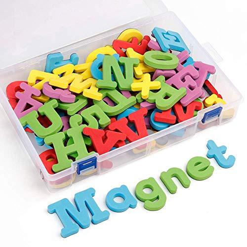 Coogam Schaum Magnetische Buchstaben und Zahlen - 82 Stück Groß Größe Großbuchstaben Kleinbuchstaben ABC 123 Starke Kühlschrank Magnete Schaum Alphabet Lernspielzeug für die Vorschule Lernen