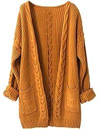 LinyXin Cashmere Damen Strickjacke Kaschmir Rundhals Langarm Lose  Winterjacke Wolle Pulli Sweater Warm… 90fc474015