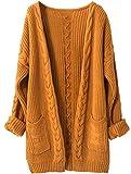 LinyXin Cashmere Damen Strickjacke Kaschmir Rundhals Langarm Lose Winterjacke Wolle Pulli Sweater Warm Pullover (M / 38-40, Ingwer)