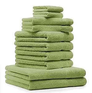 10 tlg. Badetuch Duschtuch Handtücher Set Premium Farbe Apfel Grün 100% Baumwolle 2 Duschtücher 4 Handtücher 2 Gästetücher 2 Waschhandschuhe