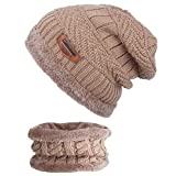 ANVEY Unisex Winter Dick Beanie Hut Schal Set Slouchy Warm Schnee Knit Cap Braun