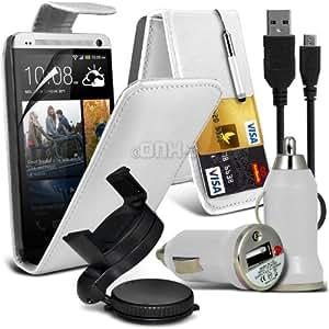 Monster 6-en-1 voiture Pack Accessoires HTC One M7 Premium PU crédit / carte de débit Emplacements Étui rabattable en cuir + écran tactile escamotable Stylet + protecteur d'écran LCD Guard + Oneisuction 360 embarquée pare-brise ventouse pour voiture Support pour montage + en voiture Bullet chargeur USB + adaptateur noir Micro Câble de données USB ( blanc ) Par Spyrox
