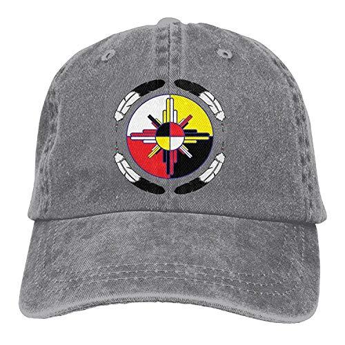 Errterfte Vintage Denim Cap Hat Medicine Wheel Six Panel Sports Trucker Baseball Hat for Adults Unisex Personalized Hat Comfortable Adjustable