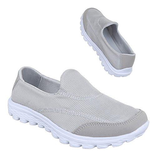 Damen Schuhe, B92B-SP, HALBSCHUHE SPORTSCHUHE SLIPPER Grau