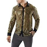 ZHeLIn Hommes Club de fête Transparent Chemise Costume Sexy - Brillant Sequin Noir Or Argent Discothèque Styles Manches Longues Bouton Disco Dance Tops Costume Party Clubwear Cosplay (Gold,XL)