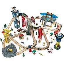 KidKraft 17809 Circuito de tren de juguete de madera para niños Super Highway con más de 80 piezas de juego incluidas