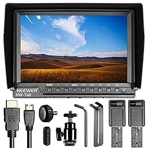 """Neewer NW760 7"""" Monitor ad Ultra Alta Definizione Monitor IPS da 1920x1200 per Fotocamera + 2 Batterie di Ricambio F550 + 2 Caricabatterie a USB per Sony Canon Nikon Olympus Pentax Panasonic"""