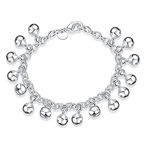 Style Target Ladies Bracelet 925Silver Plated Necklace with Small Bell Bracelet Chain 20cm 2075