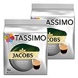 Tassimo Jacobs Espresso Ristretto, Kaffee, Kaffeekapsel, gemahlener Röstkaffee, 2er Pack, 2 x 16 T-Discs