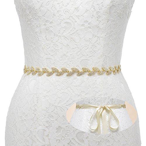 SWEETV Brillantes Joyería Correa Vestido Cinturones de Mujeres Forma de Hoja Cristal Decoración Nupcial Boda, Dorado+Champagne