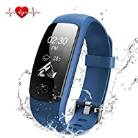 OMNiX ID107 Plus HR Smart Wristband Heart Rate Monitor with 0.96 Inch OLED Kionix Gravity sensor, BT 4.0, IP67 Waterproof for Android 4.4/iOS 7.1 Above, Removable Straps, Direct USB Charging (Blue)