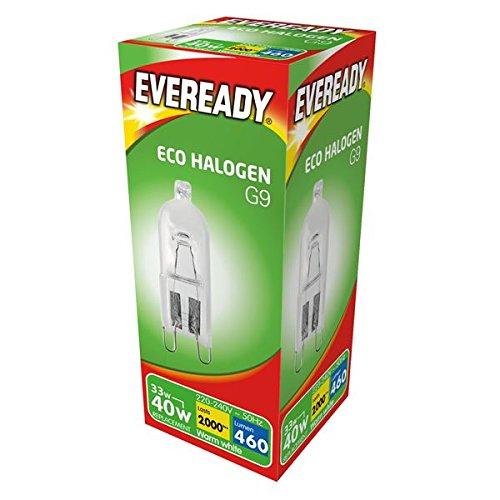 33W (40W) G9ECO Halogen Kapsel 240V dimmbar, Sicherheit verschweißt, klar Leuchtmittel (Eveready S10110)