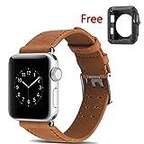 Hkfv Amazing splendido design High Grade Gorgeous Fashion Style Apple Watch Band cinturino in pelle bracciale fascia di polso per Apple Watch 38mm 42mm 1/2/3, 42MM Brown