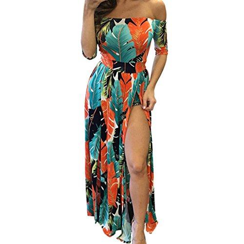 Oyedens Femme Evening Dress Women Sexy Split Elastic Dress Orange