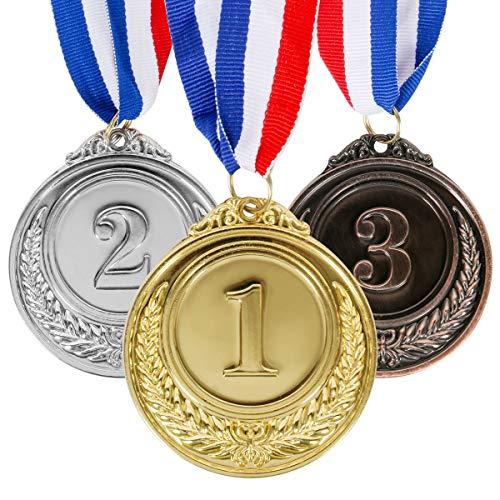 Funhoo Set von 12 Metal Medaillen Gold Silber Bronze Olympische Stil Medaille Gewinner Kinder Awards 1st 2nd 3rd für Spiel Party Sport Auszeichnungen Kollektion