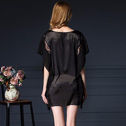 lpkone-Chemise en soie noir Pyjama Sexy Mesdames glace occasionnels de luxe en soie gris,service d'accueil Black