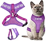 Dexil Colour Coded Cat Harness Warning Alert Vest Padded and Water Resistant Purple DO NOT FEED (S-M)