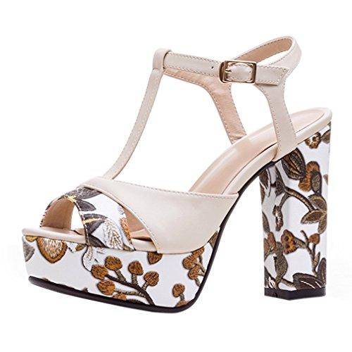 ENMAYER Womens PU Materiale Tacchi alti Cinturino in cinghia Piattaforma Block Heels Sandali Dress Sandali Beige#83