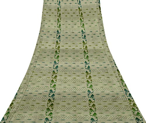 Svasti belwari Jamdani Vintage Sari Refurbished Waldgrun 100% reine Seide gedruckt Craft Stoff 1 Yard -