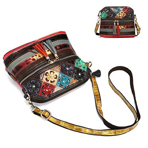 Quirky Crossbody Vintage Look Leather Handbag