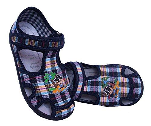 Renbut Kinder Jungen Baby Hausschuhe Sandalen Mit Pirat Stoffschuhe Klettverschluss Innensohle Leder Blau Navy Gelb Blau