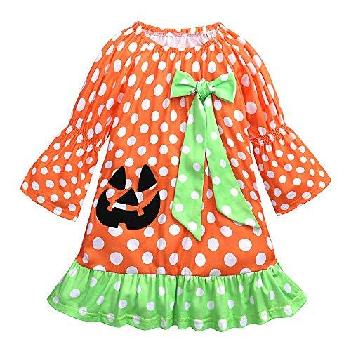 Kinder Mädchen Langarm Punkt Drucken Stickerei Kleid mit Bowknot Prinzessin Kleid Kostüm Kinder Glanz Kleid Mädchen Weihnachten Verkleidung Karneval Party Halloween Fest von Innerternet