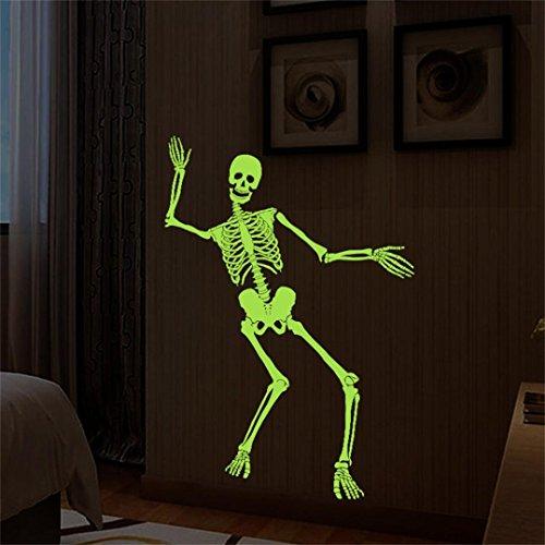 m * 90cm Haushalt Raum leuchtender Schädel-Knochen-Wand-Aufkleber-Leuchtstoffwand-Aufkleber-Wanddekor-Abziehbild entfernbar (Schwarz) (Live-halloween-musik)