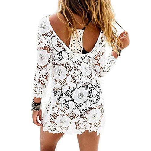 Copricostumi e parei Donna, sciolto Beachwear Cover Up Costumi da bagno Bikini Copricostume spiaggia Camicetta, Costumi Da Bagno Abito, Camicia da donna Bianco