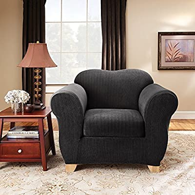 Sure Fit Stretch Pinstripe Two Piece Chair Slipcover
