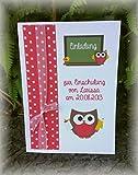 Einladung Einladungskarte Einschulung 1. Schultag Schulanfang Eule Tafel personalisierbar rot